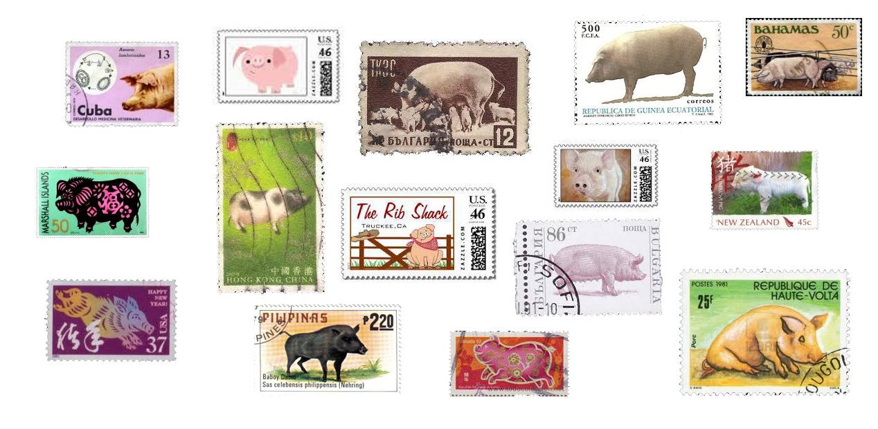 Timbres du monde avec une chose en commun ... le cochon