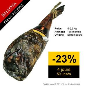 Promotion remise discount de l'épaule pata negra Bellota Gran Reserva 2010